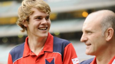 Proud moment: Jack Watts with the late Dean Bailey when his Queen's Birthday debut was announced.