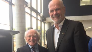 President of Ireland Michael D Higgins and Peter FitzSImons