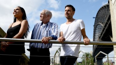Gadigal woman Lille Madden with her grandfather Uncle Charles Madden and Kamilaroi artist Jonathan Jones at Dawes Point.