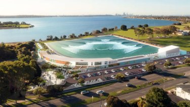 Artist's impression of the surf park on the Swan River in Alfred Cove.
