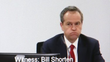 Bill Shorten appearing at the Royal Commission into Trade Union Corruption.