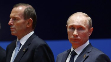 Australia's relationship with Russia was strained after Tony Abbott led condemnation of Vladimir Putin's actions in Ukraine.