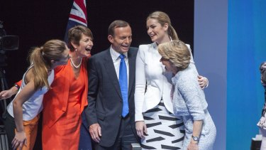 Tony Abbott and his family during happier times at the 2013 Coalition campaign launch.