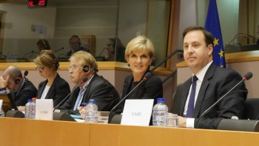 Trade Minister Steven Ciobo and Foreign Minister Julie Bishop in the European Parliament earlier this year.