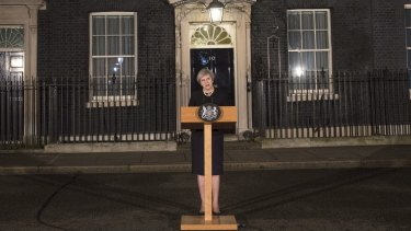 British Prime Minister Theresa May makes a statement in Downing street following the Wednesday terrorist incident in Westminster.