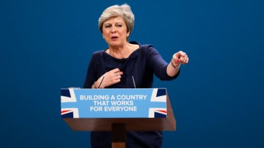 UK Prime Minister Theresa May addressing the Conservative Party conference in Manchester.