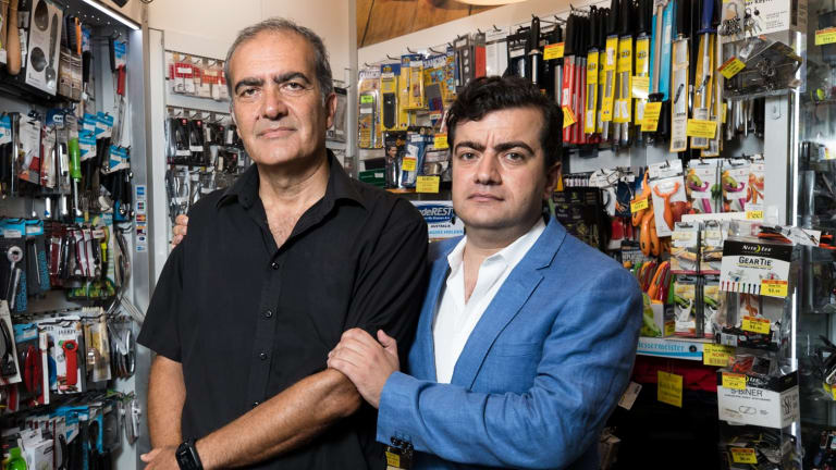 Sam Dastyari and his father Naser in his shop, King of Knives, in Queen Victoria Building, Sydney.