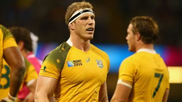 Treading a fine line: David Pocock scored two tries in the Wallabies' World Cup win over Fiji and his combination with Michael Hooper and Scott Fardy will be criticial in this weekend's showdown with England.