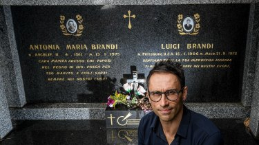 Mark Brandi at his grandparents' grave site in the Melbourne General Cemetery.