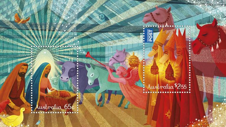 Sonia Kretschmar's traditional Christmas stamp design for 2015, full minisheet.