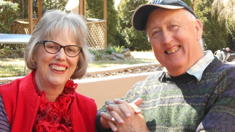 Helen James with her husband, Gordon, who was diagnosed with early-onset dementia 11 years ago.