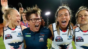 Bec Goddard with the Crows.