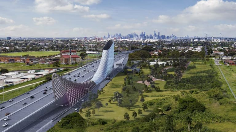 The proposed vent stack and exit ramp in  Yarraville to be built as part of the West Gate Tunnel.