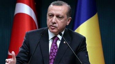 Turkey's President Recep Tayyip Erdogan speaks during a news conference in Ankara.