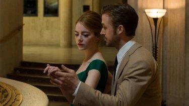 Ryan Gosling and Emma Stone in <i>La La Land</i>.