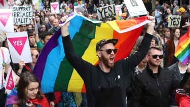 Same-sex marriage supporters rally in Melbourne.