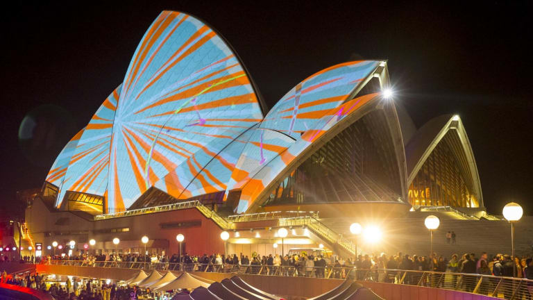 The Sydney Opera House lit up for the Vivid festival.