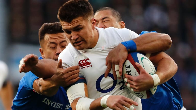 England's Alex Lozowski on the charge against Samoa at Twickenham on Saturday.
