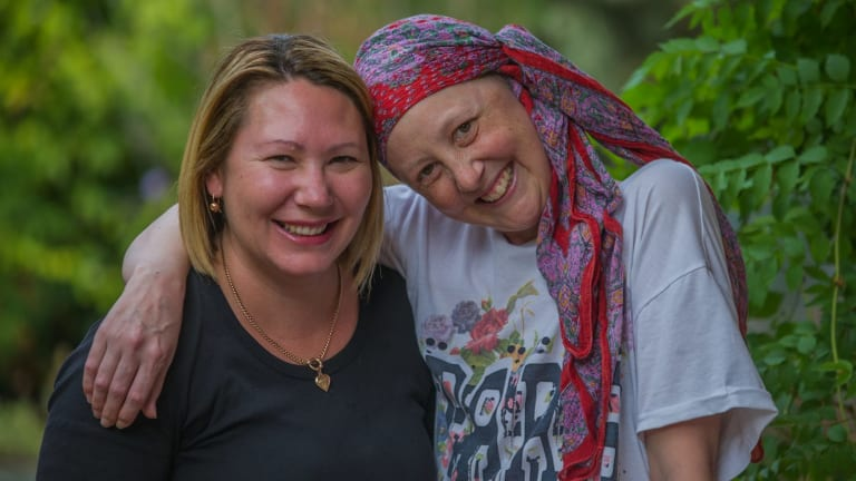Connie Johnson (right) with her Canberra friend Amy English who was by her side constantly.