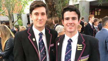 AFL hopefuls and close mates Charlie Constable (left) and Andy Brayshaw.