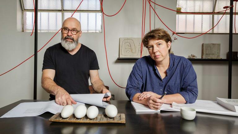 SoCA founder Shane Kent and teacher Kate Jones, in the studio.