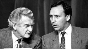 Former prime minister Bob Hawke (left) with then treasurer Paul Keating.