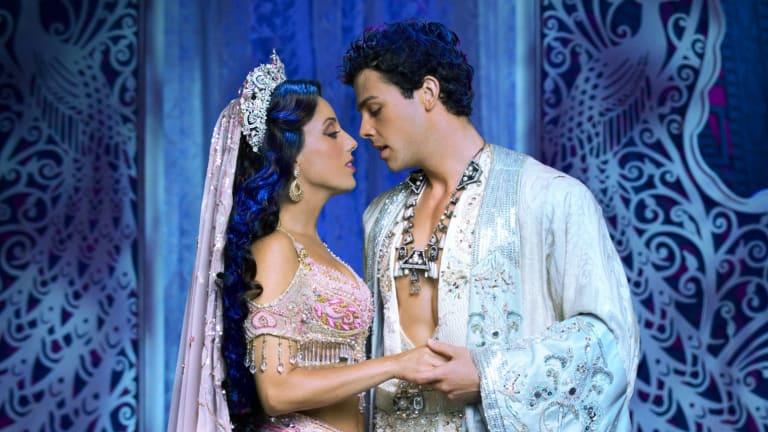 Hiba Elchikhe as Princess Jasmine and Ainsley Melham as Aladdin.