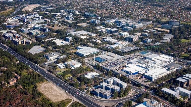 Macquarie Park, where industrial land is being converted to apartments.
