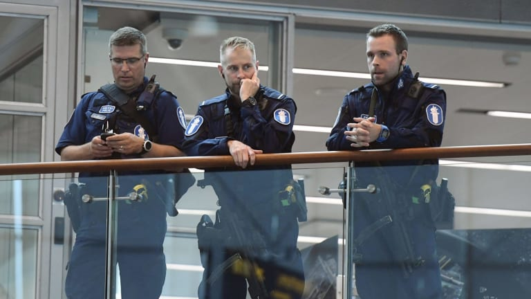 Police at Helsinki airport on Friday afternoon following a stabbing attack in Turku.