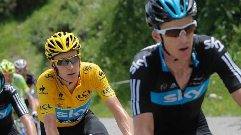 Canberra's Michael Rogers, right, has questioned the validity of a report claiming former Sky teammate Brad Wiggins, left, used TUEs for performance enhancement.