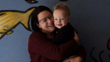 Amanda Darragh with her son Blake, aged 21 months.