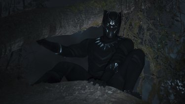 T'Challa (Chadwick Boseman) in his Black Panther outfit.