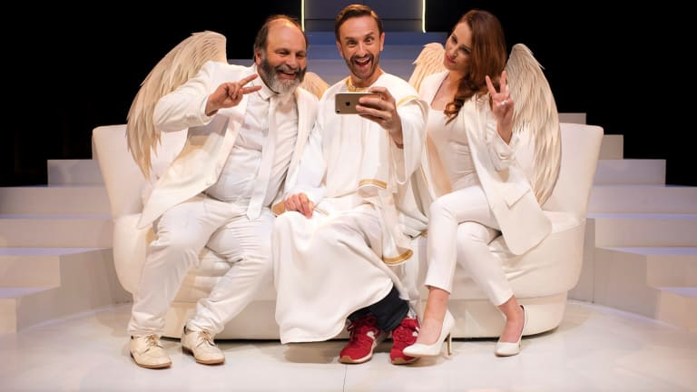Holy trinity: Alan Flower, Mitchell Butel and Laura Murphy in An Act of God.