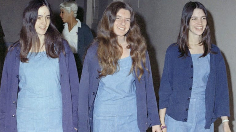 The followers of Charles Manson, from left, Susan Atkins, Patricia Krenwinkel and Leslie Van Houten pictured in 1970.
