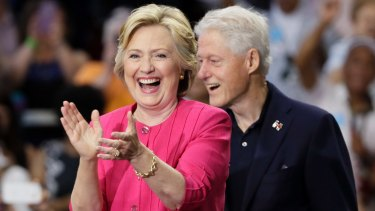 Democratic presidential candidate Hillary Clinton and her husband, former President Bill Clinton.