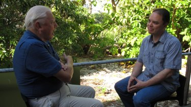 John Cook from UQ's Global Change Institute interviews Sir David Attenborough for a segment in their 'Making Sense of Climate Change Denial' course.
