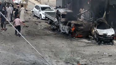 Syrian citizens after airstrikes hit Manbij, Syria.