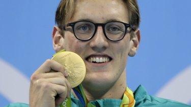 Men's 400m gold medal winner Mack Horton on the podium.