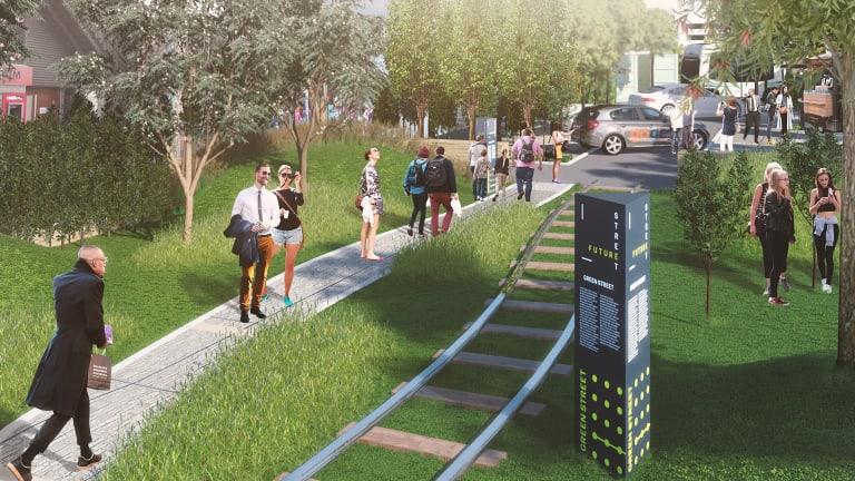 Walking beside tram tracks: an artist's take from the Future Street Project.