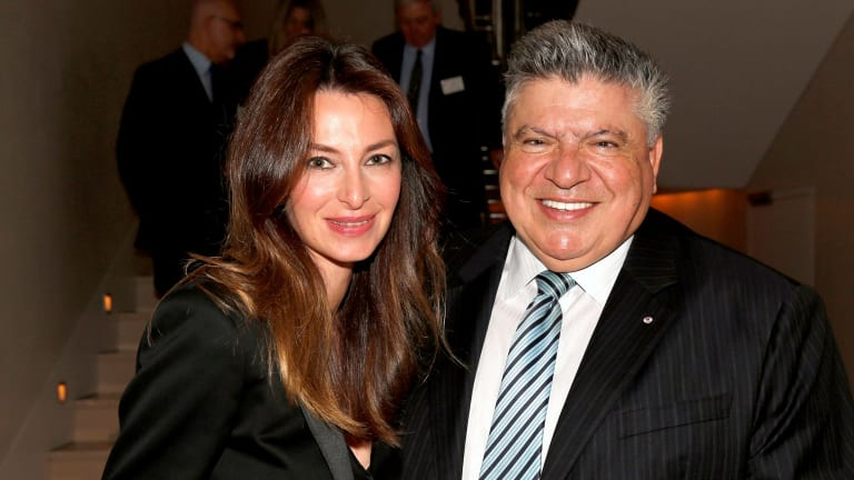 Amber Keating with her fiance John Symond at the St Vincents Private Hosptial fundraiser held in Symond's home.