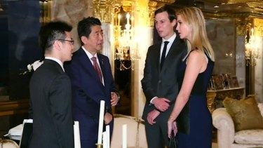 Ivanka Trump and her husband Jared Kushner met Japanese PM Shinzo Abe on Friday. Mr Trump's three adult children will operate his businesses while he's in office.