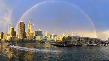 The rainbow over Sydney's CBD this afternoon.
