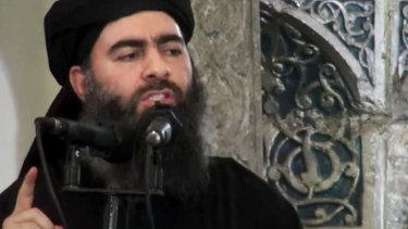 An image of the militant thought to be at one time, and perhaps still, the leader of Islamic State, Abu Bakr al-Baghdadi, taken from a propaganda video.