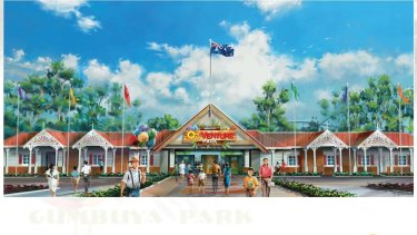 An artist's impression of the theme park entrance to the planned $50 million Gumbuya Park.