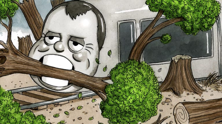 "The ""light"" rail consumes all before it, for dubious benefit. Illustration: John Shakespeare"