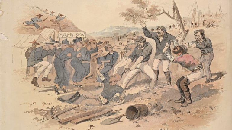 Might Versus Right, by S.T. Gill, c. 1862-63, watercolour, State Library of New South Wales.