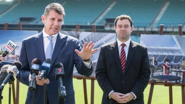Mike Baird, former NSW premier and current NAB executive, was happy to talk about stadiums with Minister for Sport Stuart Ayres in December last year.