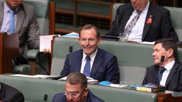 Tony Abbott, centre, has been clear about his freedom to speak out as a backbencher.