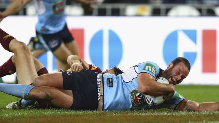Borken toe: Boyd Cordner of the Blues scores a try during game one of the State Of Origin series on June 1.