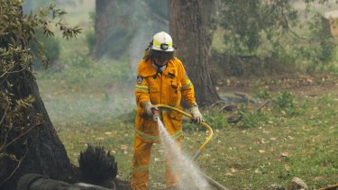 Fire fighters attend a property along Cabbage Tree Road, Williamtown, on Saturday.
